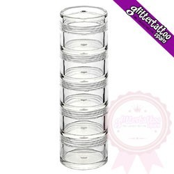 Stackable jars 5cm diameter x 13cm high.