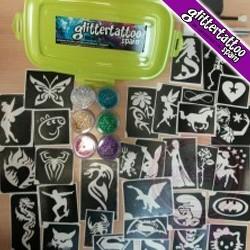 10 kits of medium glitter tattoos.