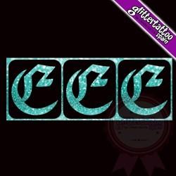 """""""E"""" - 3 en 1 - La lettre mesure 2,5 cm"""