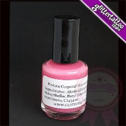Pink brush on body paint