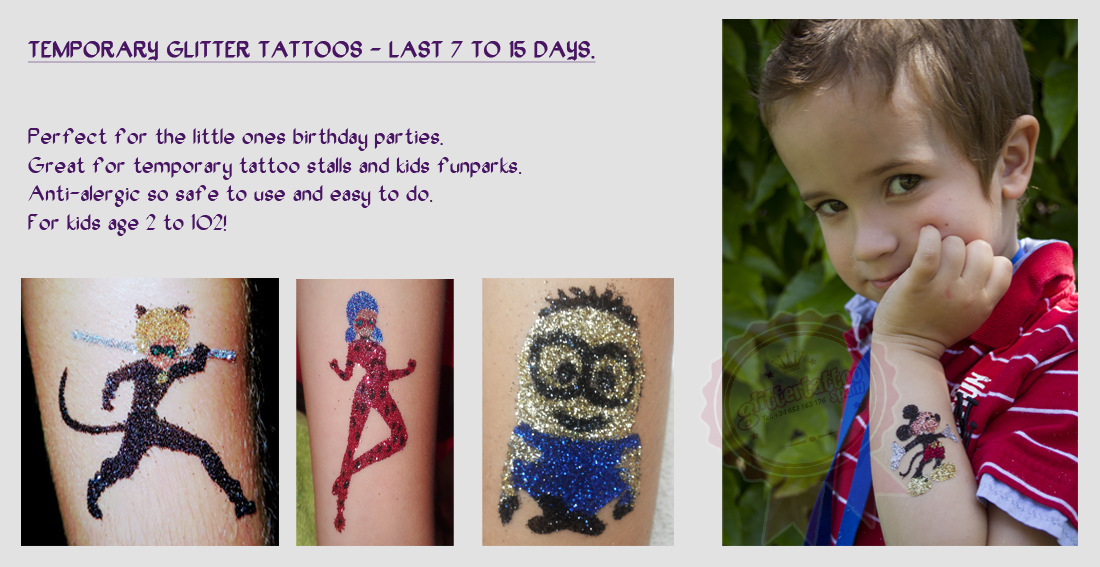 Cat noir and ladybug glitter tattoos for children. Safe on skin and water resistant.