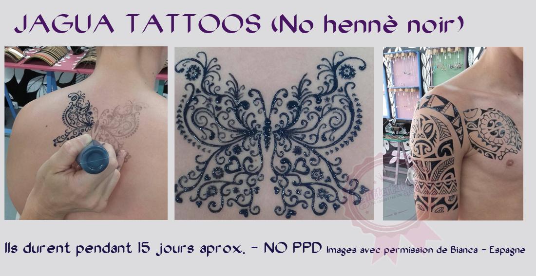Les tatouages Jagua sont la chose la plus proche d'un vrai tatouage. Ils sont parfaits si vous voulez savoir à quoi ressemblera un tatouage avant de le faire. Ils durent environ 15 jours.